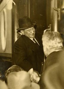 France Paris Gare du Nord President of Council Edouard Daladier Old Photo 1933