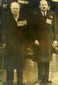 United Kingdom London Mermorial Day Winston Churchill & Attlee Old Photo 1948