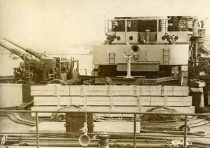 France Toulon Military Battleship in harbor Guns Old Photo 1930's