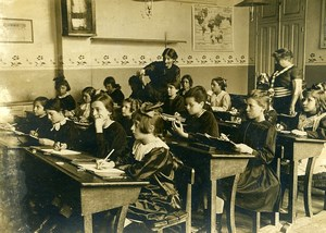 France Young Girls at School Class Teachers Old Photo 1910's