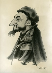 France Paris Caricature Portrait of Abbé Pierre Emmaus Old Photo 1960