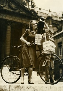 France Paris Gislaine Michel First Prize of Composition Bicycle Old Photo 1948