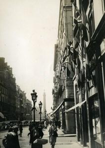 France Paris Rue de la Paix King George V Jubilee British Flags Old Photo 1935