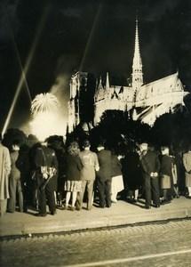 France Paris Notre Dame July 14 Celebration Fireworks Old Photo 1948