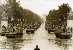 France Paris July 14 Parade Tanks Champs Elysees Old Photo 1968