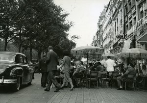 France Paris Champs Elysées Parking on Café Terraces Old Photo 1955