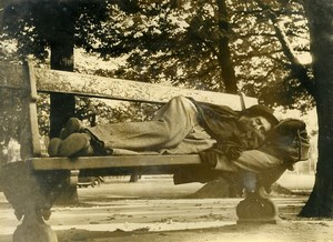 France Paris Homeless resting on a bench Old Photo 1960