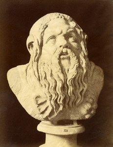 Italy Museum Antiquity Roman Sculpture Silenus Satyr Old Photo Alinari 1880