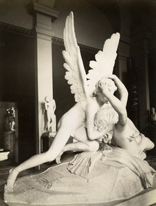 France Louvre Museum Sculpture Love and Psyche by Canova Old Photo 1880