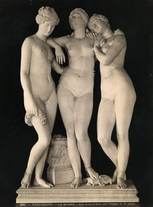 France Versailles Museum Sculpture The Three Graces by Pradier Old Photo 1880