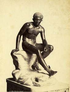 Italy Sculpture Mercury Resting Old Photo Robert Rive 1870