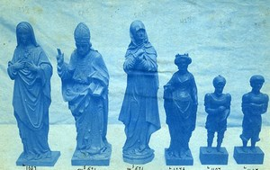 France Sculptures Religieuses Ancienne Photo Cyanotype 1870