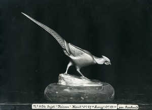 France Paris Art Deco Cadran Workshop Irenée Rochard Pheasant Old Photo 1930