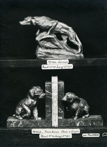 France Paris Art Deco Cadran Bartelletti Fox Dog Rabbit Bookends Old Photo 1930