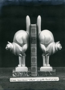 France Paris Art Deco Cadran Workshop Gallo Cat Bookends Old Photo 1930