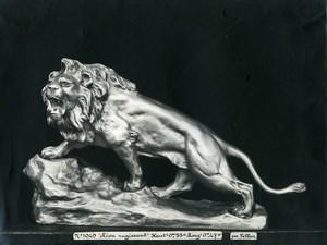 France Paris Art Deco Atelier Cadran création de Pellier Lion Rugissant Ancienne Photo 1930