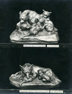 France Paris Art Deco Cadran Workshop Bartelletti Lion, Dog & Babies Photo 1930