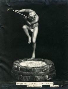 France Paris Art Deco Atelier Cadran création de Trinque Faune a la Vasque Ancienne Photo 1930