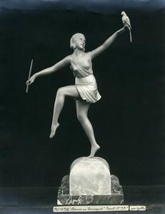 France Paris Art Deco Atelier Cadran création de Gallo Danseuse Perroquet Ancienne Photo 1930