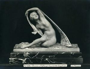 France Paris Art Deco Atelier Cadran création de Varnier Femme a l'Echarpe Ancienne Photo 1930