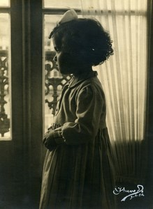 Portugal Guimaraes Thoughtful Girl at the Window Study Old Photo Azevedo 1950