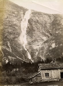 Norway Romsdalen Waterfall Mountain House Old Photo Knudsen 1875