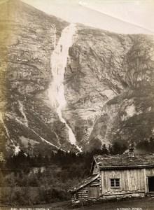Norway Romsdalen Waterfall Mountain House Old Photo Knudsen 1875