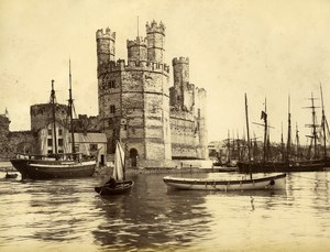 United Kingdom Wales Carnarvon Castle Sailboats Old Photo Bedford 1875