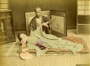 Japan Shampooer Medecine Massage Old Hand Colored Albumen Photo 1890