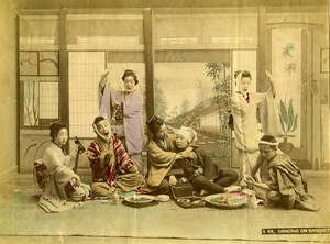 Japan Scene de Genre Dancing on Banquet Old Hand Colored Albumen Photo 1890