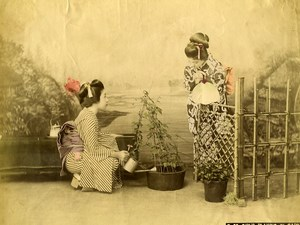 Japan Scene de Genre Girls playing in Garden Old Hand Colored Albumen Photo 1890