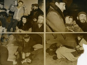 France Paris Night Hike with Abbe Pierre Salvation Army Homeless Old Photo 1954