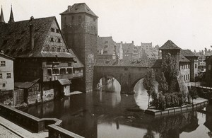 Germany Nurnberg Bridge Der Henkersteg Old Cabinet Photo Rommler 1890