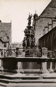 Germany Nurnberg Tugendbrunnen Fountain Old Cabinet Photo Rommler 1890