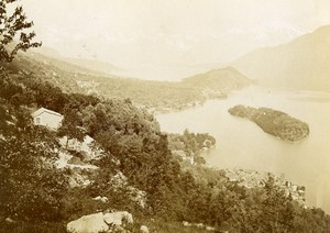 Italy Tremezzina Como Lake Panorama Old Cabinet Photo Nessi 1880