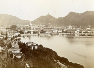 Italy Bellagio Como Lake Panorama Old Cabinet Photo Nessi 1880