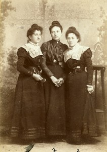 France Niort Portrait 3 Sisters Hennequin Old Cabinet Photo Duburguet 1890