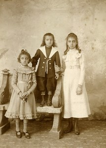 France Lille Portrait Children Siblings Old Cabinet Photo Leroy 1880