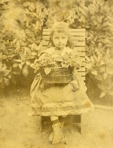 Algeria Constantine Portrait Young Girl Old Cabinet Photo Cougot 1890