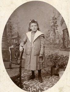 France Lille Portrait Young Girl Old Cabinet Photo Cayez 1890