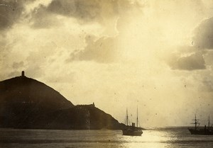 France Boats in the Harbor Sunset Old Cabinet Photo 1880