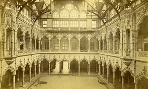 Belgium Antwerp Stock Exchange Interior Architecture Old Photo 1880