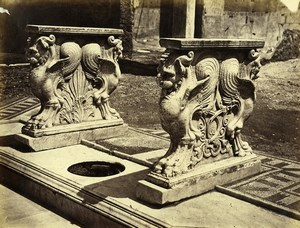Italy Pompeii Cornelius Rufo House Old Albumen Photo Amodio 1880