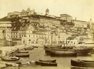 Italy Ancona General View Boats Arch of Trajan Old Albumen Photo 1880