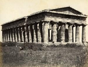 Italy Pesto Paestum Temple of Neptune Old Albumen Photo Sommer 1880