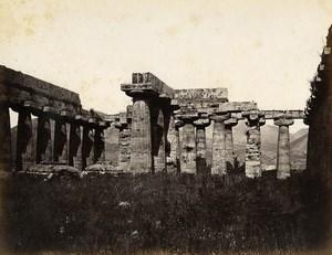 Italy Paestum Pesto Basilica Temple Old Albumen Photo Sommer 1880