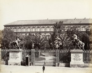 Italy Naples Napoli Palafrenieri Statue Palazzo Reale Albumen Photo Sommer 1880