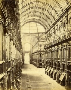 Italy Milano Milan Galleria Vittorio Emanuele II Old Albumen Photo Sommer 1880