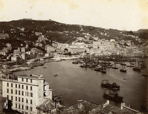 Italy Genoa Genova General View panorama Old Albumen Photo Sommer 1880