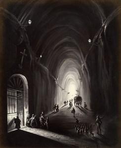 Italy Naples Napoli Piedigrotta Tunnel Old Albumen Photo Sommer 1880